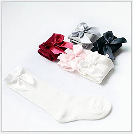 TheFound Unisex Baby Girls Boys Socks Knee High Stockings Bow Socks