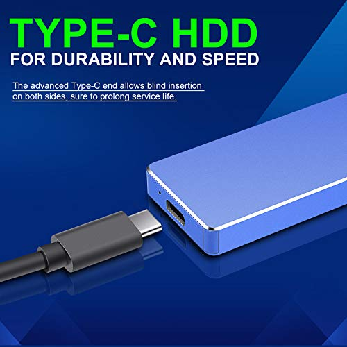 Portable External Hard Drive 2TB,Jetzz Hard Drive External Ultra Slim Portable HDD Type C External USB 3.1 Hard Drive for Mac, PC, Laptop (2TB, Gold)