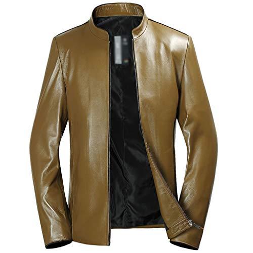 DXIUMZHP Jacken Herbst Jacken Herren, Echte Schaffell Lederjacken, Dünnschnitt Unten, Motorradbekleidung (Color : Yellow, Size : XG)