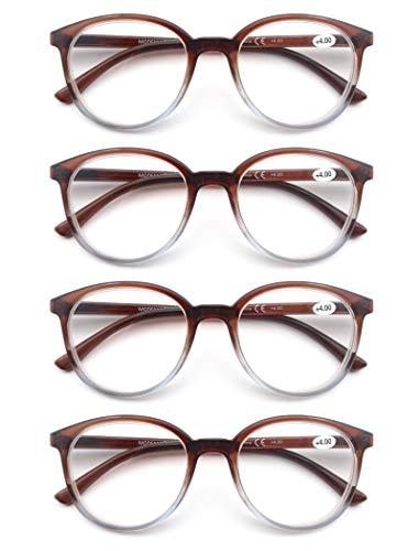 Un Pack de 4 Gafas de Lectura/Gafas para Presbicia para Hombres y Mujeres,Buena Vision Ligeras Comodas,Vista de Cerca/Vista Cansada