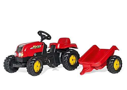 Rolly Toys- Veicolo a Pedali Kid X con Rimorchio, Colore Rosso, 012121