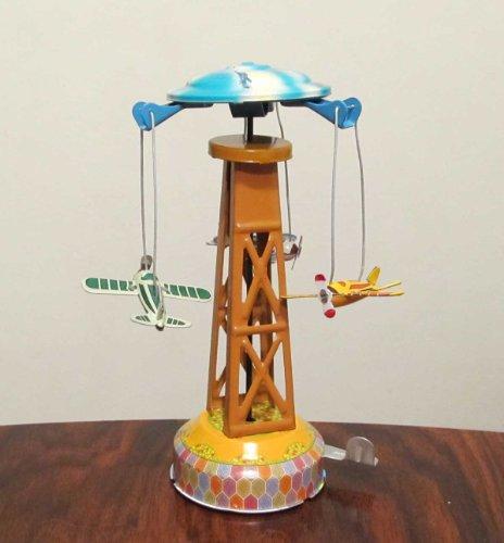 Nostalgie Blechspielzeug Karussell mit Flugzeugen
