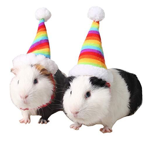 NaiCasy Kleintiere Ruhe und Regenbogen-Hut Weihnachtswelpe Weihnachtsmütze Kostüm Christmas Collection Tierbedarf Katzen Kaninchen Hamster Meerschweinchen, kleine Bestände von Tieren