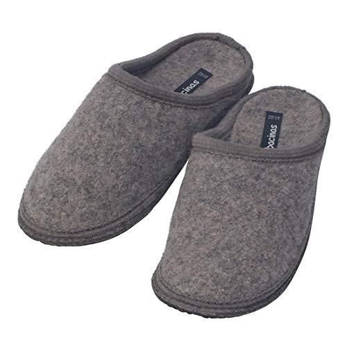 Japanwelt Filz-Hausschuhe Herren Hell-Grau - warme Slipper Pantoffeln 100% Schafswolle Wollwalk Filzsohle 43/44