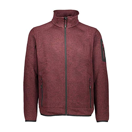 CMP – F.LLI Campagnolo Herren Knit Tech Polyester-Strickfleecejacke Fleecejacke, Burgundy Mel-Burgundy, 56