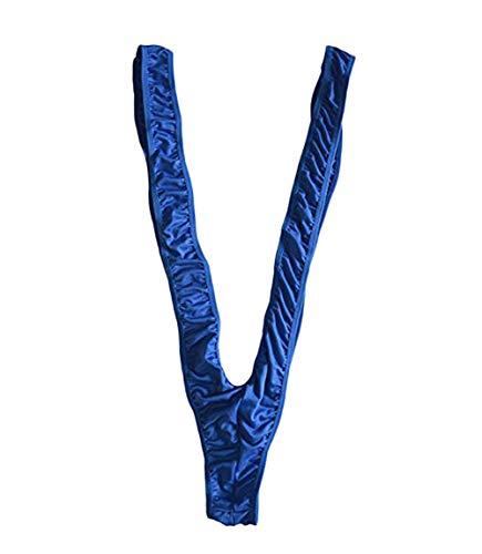 Unibaby Men's Mankini Swimsuit Thong Borat Deep V Neck Underwear Bodysuit Butler Teddy G-Strings Thongs Briefs (Blue, One Size)