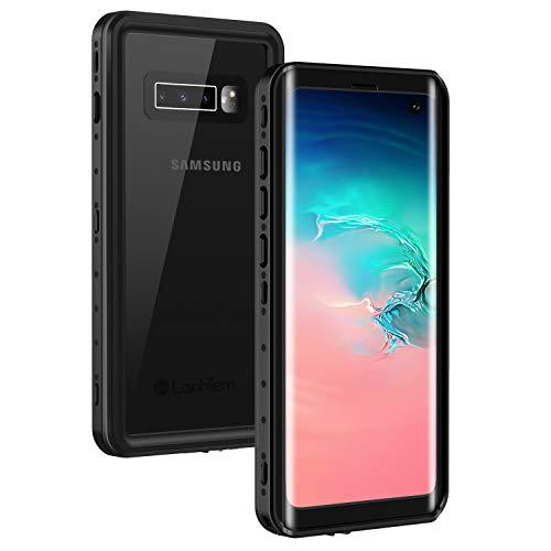 Lanhiem Funda Impermeable Samsung S10, Carcasa Resistente Al Agua IP68 Certificado [Protección de 360 Grados], Carcasa para Samsung Galaxy S10 Compatible con Sensor de Huellas Digitales, Negro