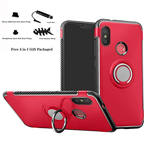 Labanema Xiaomi Mi A2 Lite/Redmi 6 Pro Funda, 360 Rotating Ring Grip Stand Holder Capa TPU + PC Shockproof Anti-rasguños teléfono Caso protección Cáscara Cover para Mi A2 Lite/Redmi 6 Pro - Rojo