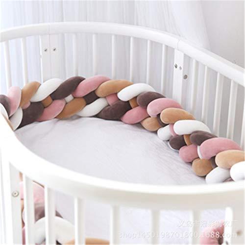 GLITZFAS Baby Crib Bumper Knotted Braided 4 WebenBaby Nestchen Bettumrandung Weben Geflochtene Stoßfänger Dekoration für Krippe Kinderbett (Braun + Braun + Weiß + Rosa, 2.2m)