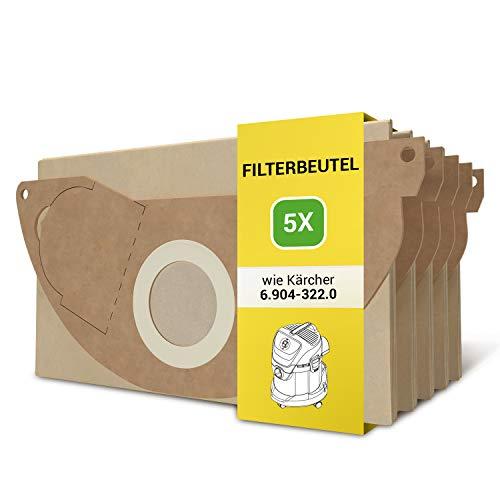 Staubsaugerbeutel Ersatz für Kärcher 6.904-322.0 5 Stück Papierfilterbeutel Filterbeutel Beutel Filtertüten für Mehrzwecksauger Staubsauger Nass- und Trockensauger A 2003 A 2004 A 2014 WD 2.250