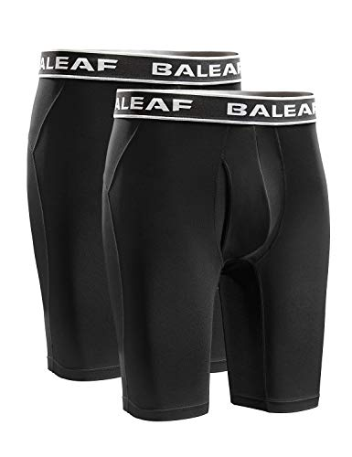 BALEAF Men's Cool Dry 9 Inch Underwear Long Leg Athletic Boxer Briefs Sport Workout Stretch 2-Pack Lightweight Black/Black Size L