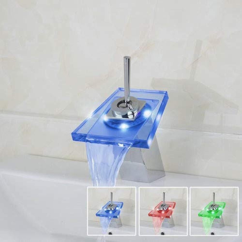 Decorry Becken Waschbecken Batterie Power Torneira LED Licht Wasserfall Deck Montiert Einzigen Handgriff 8007 Chrom Bad Wasserhahn Mischer