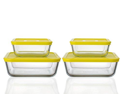 Pyrex Cook & Fresh Yellow Square Storage Set - 2X 0.85L and 2X 2L