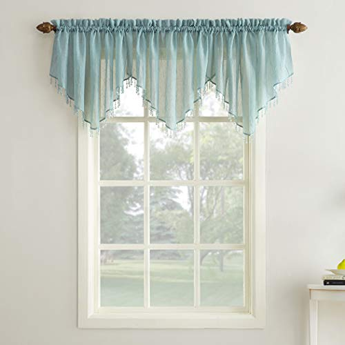 "No. 918 28054 Erica Crushed Texture Sheer Voile Beaded Ascot Rod Pocket Curtain Valance, 51"" x 24"", Mineral"