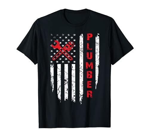 USA American Flag Plumber Men Women Plumbers Patriotic T-Shirt