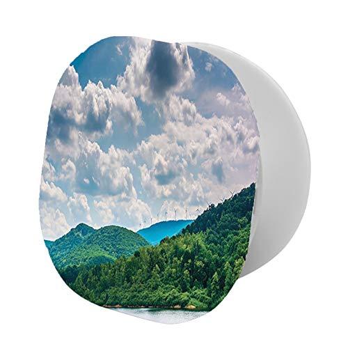 Soporte plegable para teléfono celular, foto panorámica de lago y cielo nublado con molinos de viento en montaña Ridge, soporte ajustable para teléfono móvil