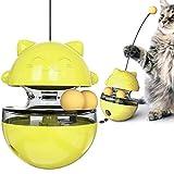 GothicBride Juguete Interactivo para Gatos , Bola de Inteligencia 4 en 1, Bola Giratoria con Dispensador de Comida, Utilizada para Juegos de Interior y Fitness para Gatos. (Amarillo)