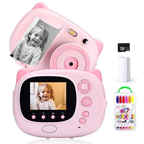 Ymiko Cámara Digital para Niños 15 MP 1080P HD Cámara Instantánea Pantalla de 2.4 Pulgadas Autofocus WiFi Sync a Prueba de Golpes Incluye 3 Rollos de Papel Fotográfico, Rosa, Espanol, Carga USB