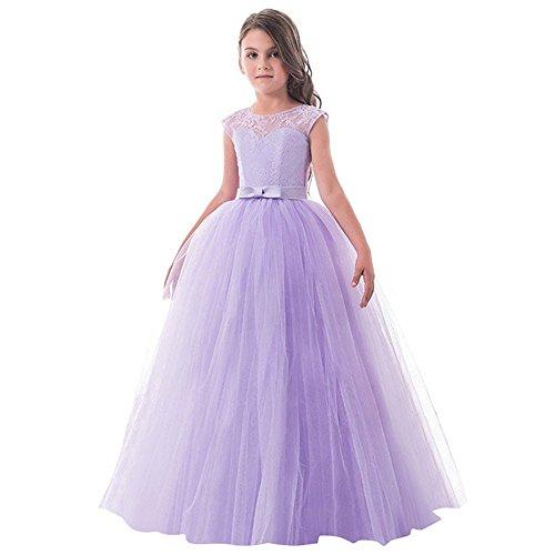 riou Vestido de Princesa del Desfile con Encajes sin Mangas Falda de Fiesta para Niñas Tutu Vestidos Baile de graduación Vestido de Novia Princesa Fiesta de Cumpleaños Vesti