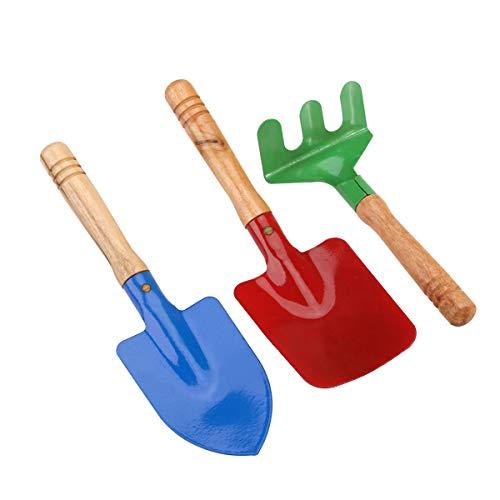 NUOLUX Juguetes de playa para niños, juguetes de arena, caja de arena, pala y rastrillo, juego de 3 piezas, color aleatorio
