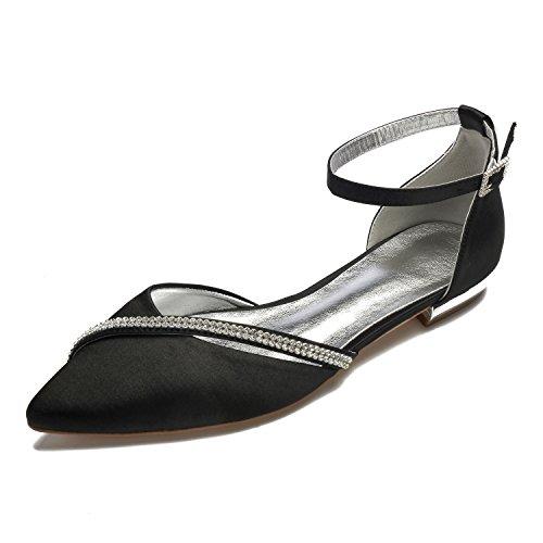 MarHermoso Mujer Ankle Strap Satén bailarinas elegantes noche zapatos novia, color Negro, talla 43 EU