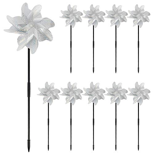 78Henstridge 10pcs Windmills for Garden, DIY Pinwheel Decoration High Reflection Wind Spinner Bird Scarer Repellent Sparkly Silver/Color Spinners Pinwheel to Protect Yard Orchard Farm (Silver)