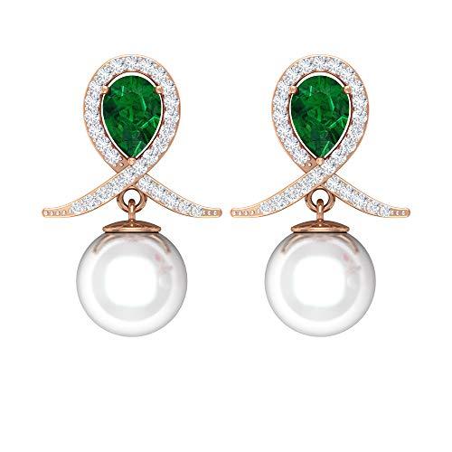 Rosec Jewels 750 oro rosa pera redonda Green White Emerald Perla de agua dulce Diamond