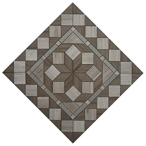 Naturstein Mosaik Rosone in Grau und Creme Marmor mit Holznerfstruktur im Format von 60 x 60 cm Fliesen