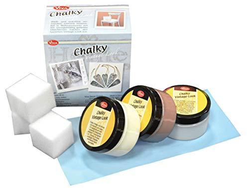 Viva Decor 8tlg Kreidefarbe Chalky Summer Breeze Komplett-Set Schabby Chic Vintage mit Anleitung Landhaus