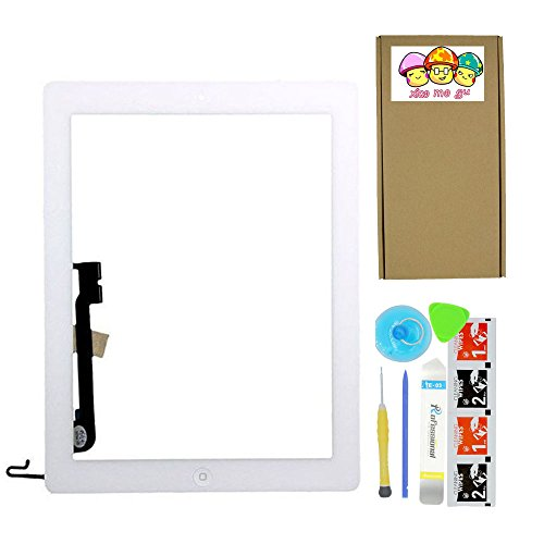 XIAO MO GU White Touch Screen Outer Glass Digitizer Panel for iPad 4 (4th Generation) with Home Button Flex Cable Assembly + Midframe Bezel + Adhesive Tape + Tool Kit