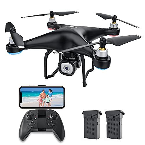 RC Drone con Cámara HD 1080P,Dual Automático Evitar obstáculo Sensor de Gravedad Vuelo en Pista,Regreso con Solo Botón, 3D Flip, 2 Baterías, Negro