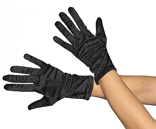 Foxxeo Kurze glänzende Schwarze Handschuhe 20er Jahre Damen Fasching Kostüm