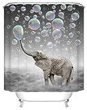 JZDH Duschvorhang für Badezimmer Elefant Seifenblasen Muster Duschvorhang, 3D-Digitaldruck Duschvorhang Ist Leicht Zu Entfernen