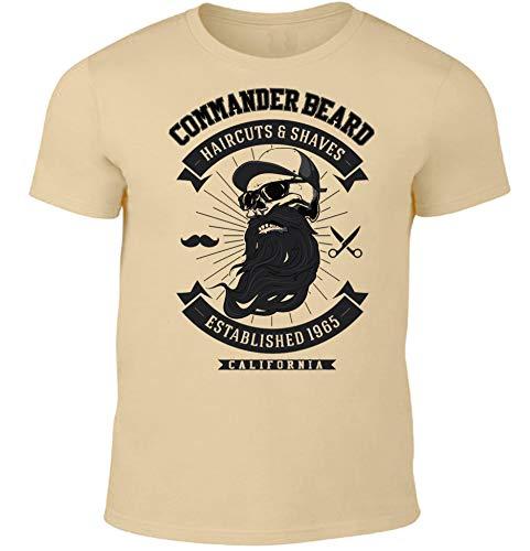 HELLMOTORS Commander Beard Herren T-Shirt Oldschool Sand (XXL)