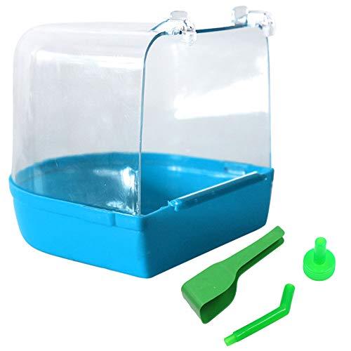 mimzemamz Bañera para pájaros, para loros, para la ducha, el baño, el loro, para mascotas, periquitos, periquitos, periquitos, periquitos, loros, periquitos, 12,5 x 13 x 14 cm, color azul