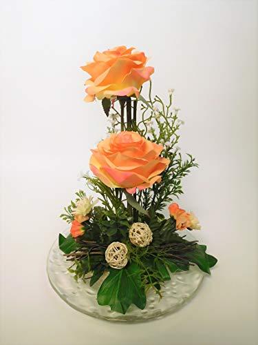 Blumengesteck Gesteck Rose Rosengesteck Geschenkidee zum Muttertag Tischgesteck Tischdeko Kunstblume Dekoblume künstlich Kunst Blume unecht H 28 cm (lachs N-12172-4)