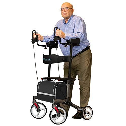 "ELENKER Upright Walker, Stand Up Folding Rollator Walker with 10"" Front Wheels, Padded Armrests, Seat and Backrest for Seniors and Adults, Color: Carbon Fiber Black"