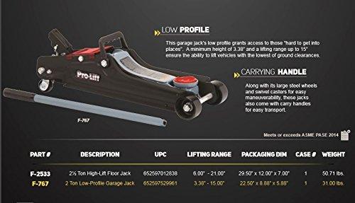 Pro-Lift F-767 Grey Low Profile Floor Jack - 2 Ton Capacity
