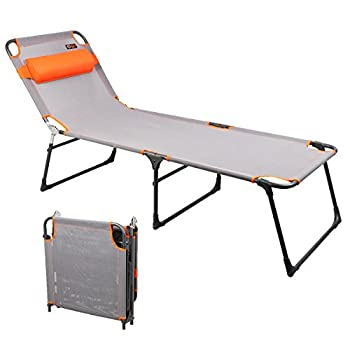 PORTAL Adjustable Folding Reclining Lounger Beach Bed Cot Grey Set Up Size  76   L  X 25   W  X 15.75   H