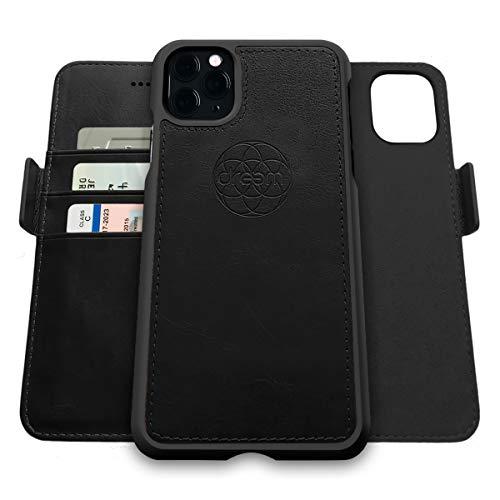 Dreem Fibonacci 2in1 Handyhülle Flipcase für iPhone 11 Pro | Magnetisches iPhone Hülle | TPU Etui Lederhülle Schutzhülle, RFID Schutz, Veganes Kunstleder, Geschenkbox | Schwarz