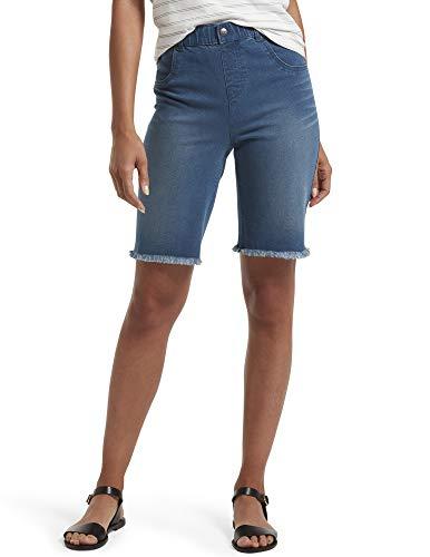 HUE Women's Ultra Soft Denim High Waist Bermuda Shorts, Windsor Wash, Large