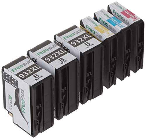 FreeSUB Compatible Ink Cartridge Replacement for HP 932XL 933XL Ink Cartridge, (3 Black, 1 Cyan,1 Magenta, 1 Yellow), Used for HP Officejet 7612 6700 6100 6600 7610 7612 7110 7510 Printers.