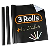 Pack of 3 Chalkboard Contact Paper Adhesive Black Wallpaper Includes Chalks 17 x 78.7 inches