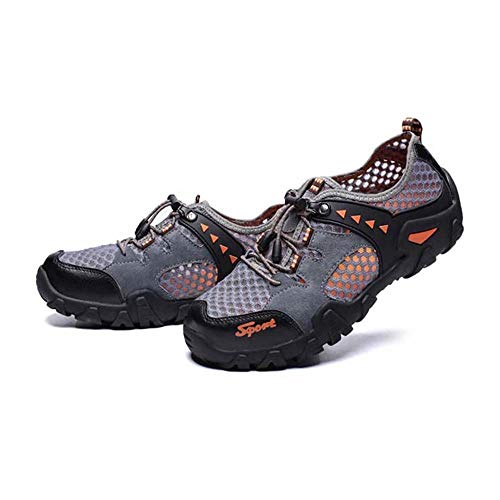 WHSS Beach shoes (Gray)Large Size Low To Help Summer Non-slip Rubber Mesh Outdoor Casual Men And Women Shoes Non-slip Waterproof Hollow Breathable Mesh Surface Hiking Shoes Upstream Hiking Shoes US6.5
