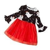 MOVERV Vetidos Navidad para Niña Tutu Falda Conjuntos Ropa bebé Set Vestido de falda de gasa de costura con estampado de color sólido de Halloween vestido de princesa