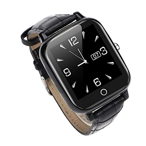 DAUERHAFT Ancianos Reloj de ubicación Reloj de teléfono Inteligente Función GPS SOS Verificar frecuencia cardíaca(Black)