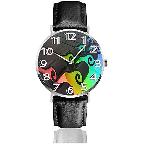 Bloques Reloj de Cuero de Color Arco Iris Negro Relojes de Pulsera de Moda Unisex Reloj de Cuarzo Relojes de Uso