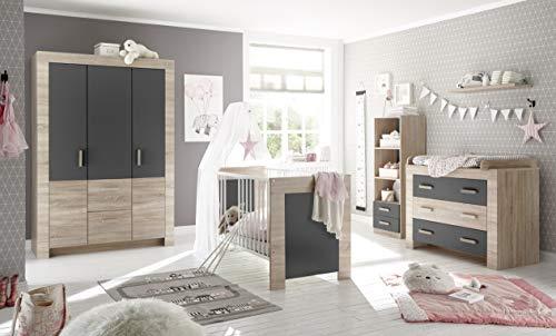 Babyzimmer Emy in Eiche Sägerau und Graphit 6 teiliges Megaset mit Schrank, Bett und Umbauseiten, Lattenrost, Wickelkommode, Standregal