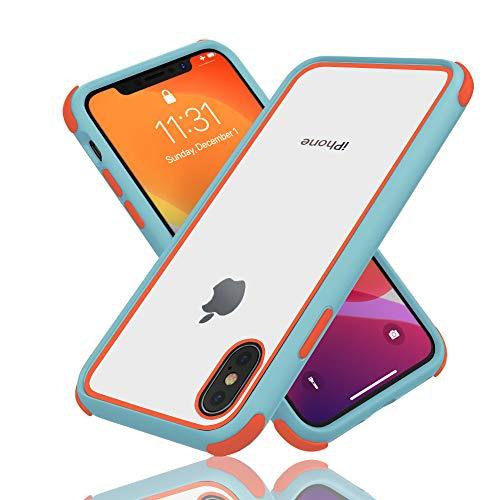 Geestyle Funda para iPhone X,Funda para iPhone XS,Funda para iPhone 10,Silicona Transparente PC/TPU Bumper Antigolpes Caso para iPhone XS X Naranja Azul Claro