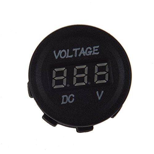 voltmetre - TOOGOO(R)DC 12V-24V Affichage moto LED Digital voltmetre Panneau rond (affichage LED rouge)